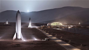 Artist's impression of SpaceX's proposed Mars Base Alpha.