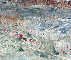 photo of seismic information overlaying a canyon